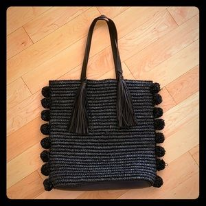 Loeffler Randall black raffia tote bag